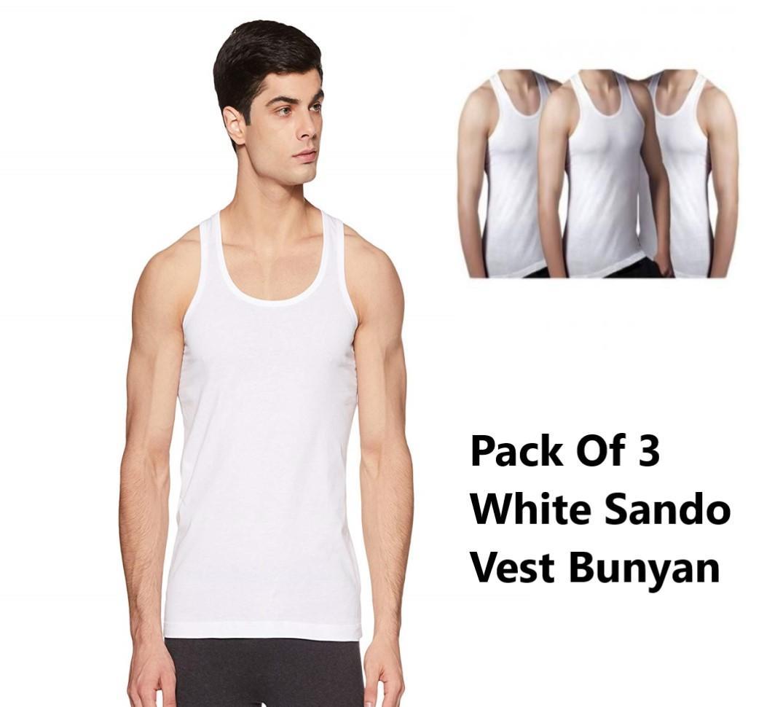 c2bf06ea50d1d Men s Combed Cotton Premium Quality Pack OF Three White Sando Bunyan Vest