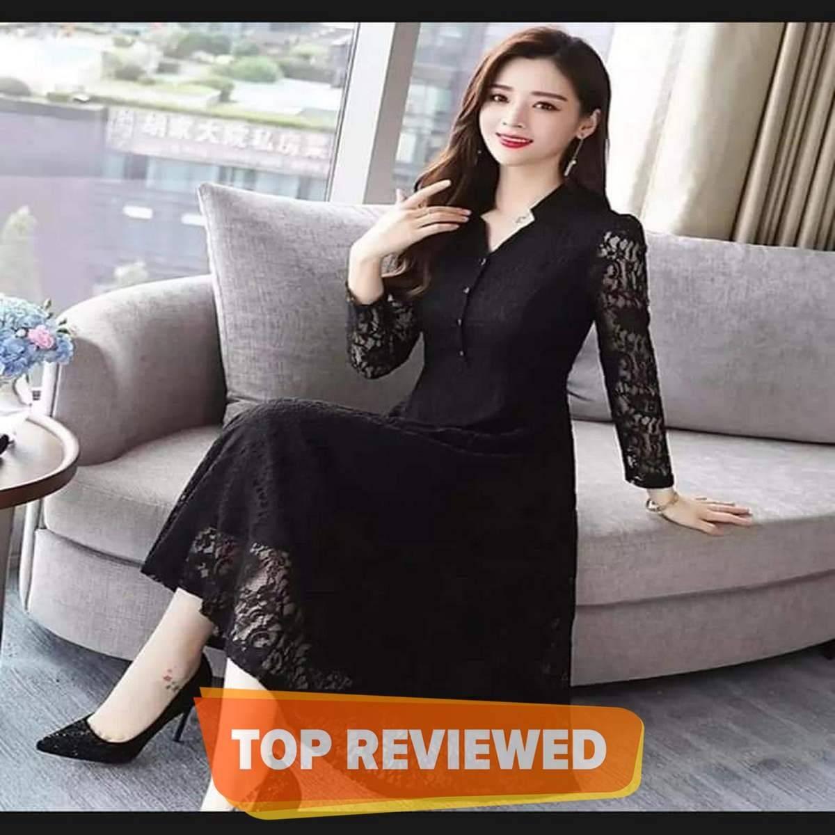 Black Net Inner Malai Maxi Dress for Women
