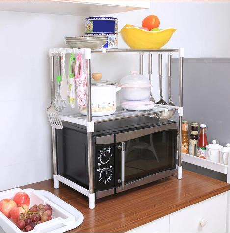 70672345dab Over The Microwave Organizer Stand/ 18 pieces/lot Stainless steel kitchen  shelf Multi-function storage
