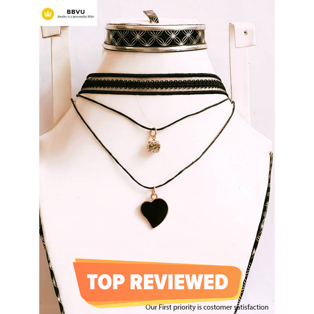 Adjustable Black Lace Necklace New fashion Choker Double Chain Zircon and Pendent Designed for Girls and Kids