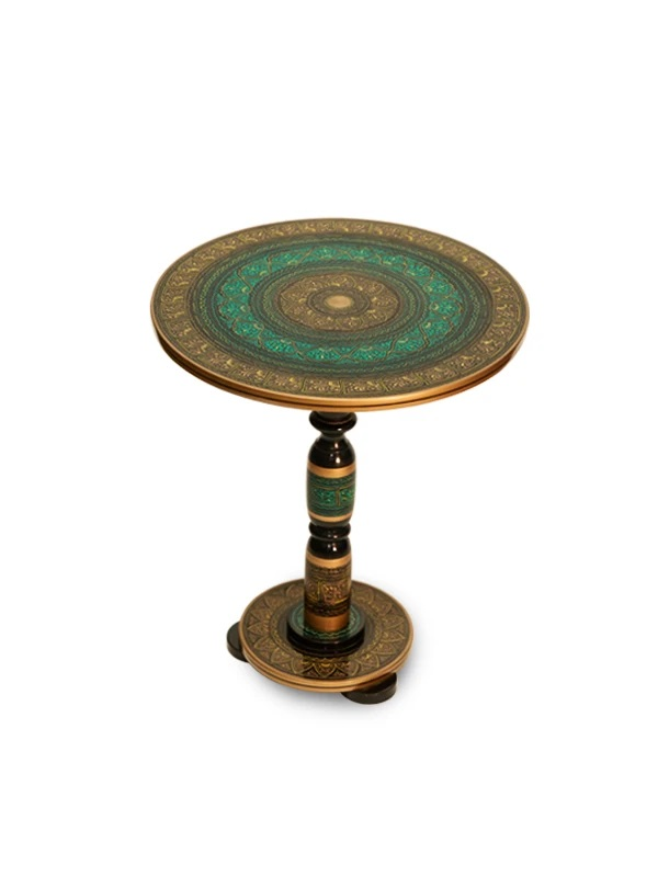 Hand Crafted Naqshi Round Coffee Table Made With Sheesham Wood - Lacquer Finish And Wax Polish