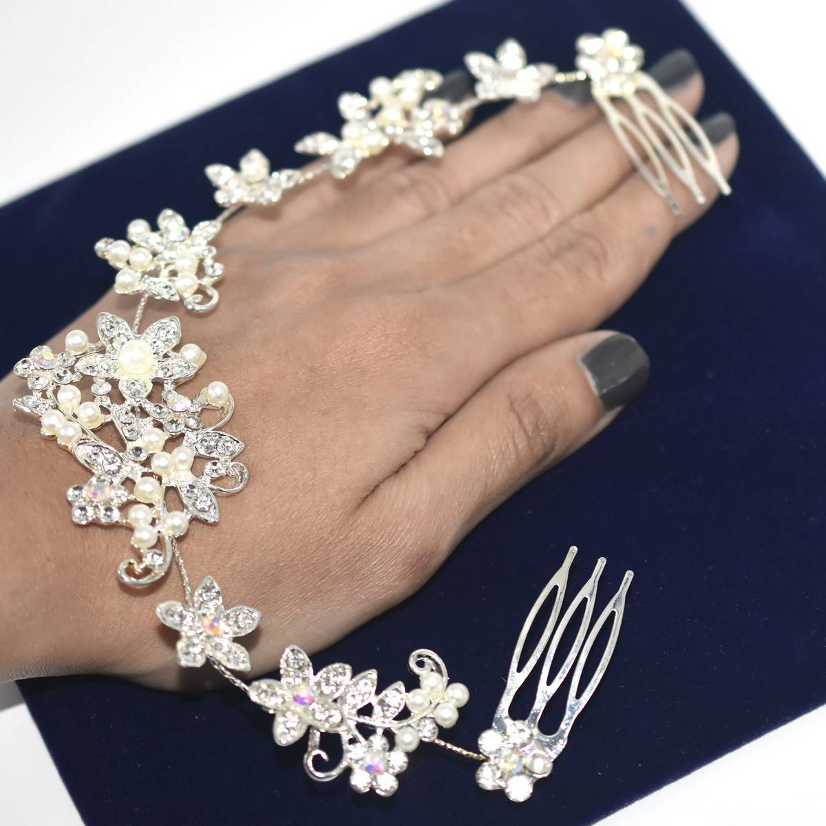 Wedding Hair Accessories Charms Clip Crystal Pearl Flower Hairpin Tiara Bridal Crown Hair Pin Bride Jewelry