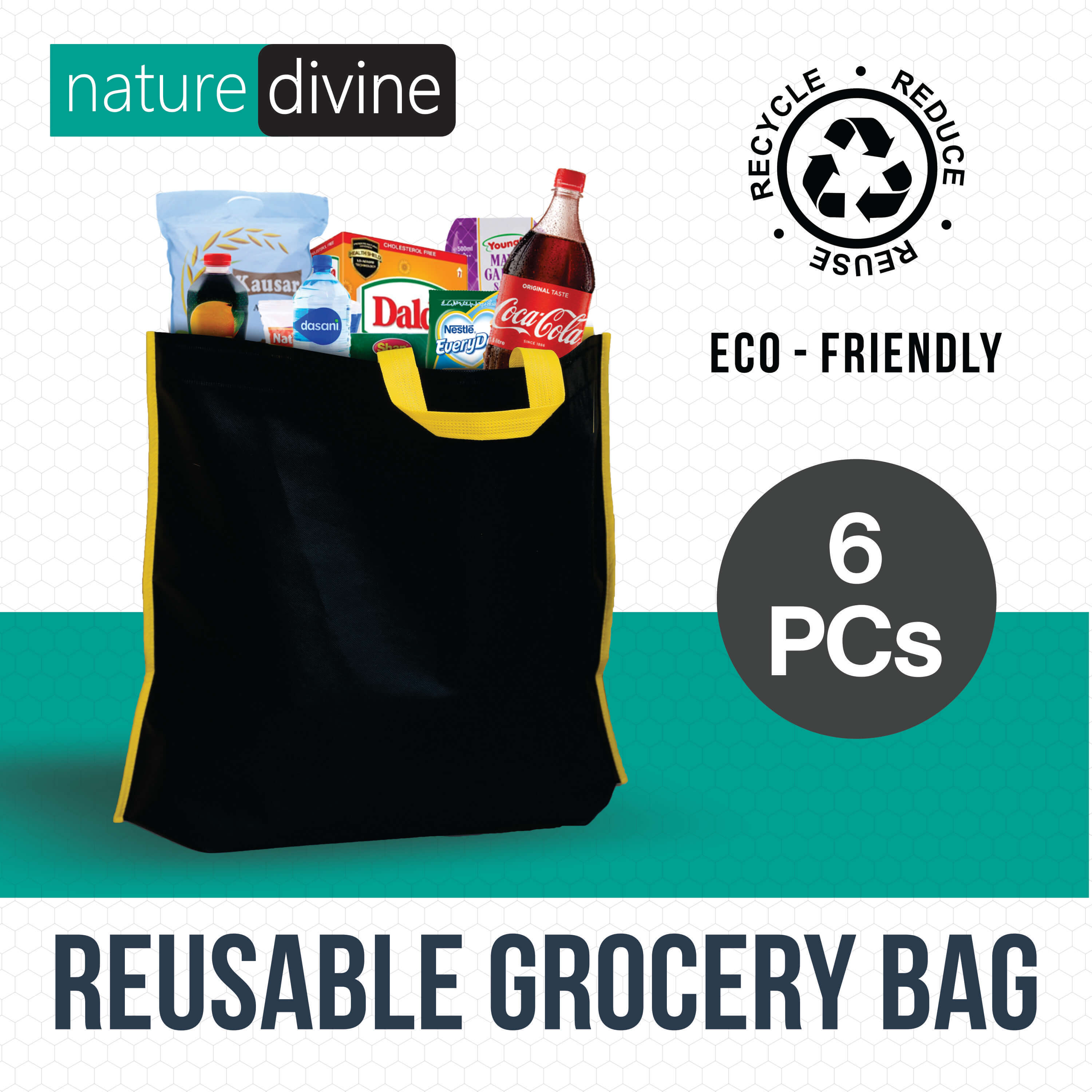 Pack of 6 Reusable Grocery Shopping Tote Bags, Black Non Woven, ECO Bags, Green Bags