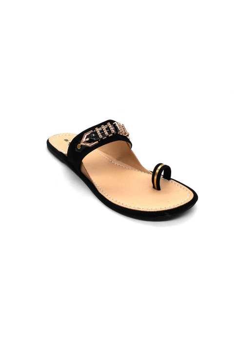 Black Grippy Slipper For Women 2121/200