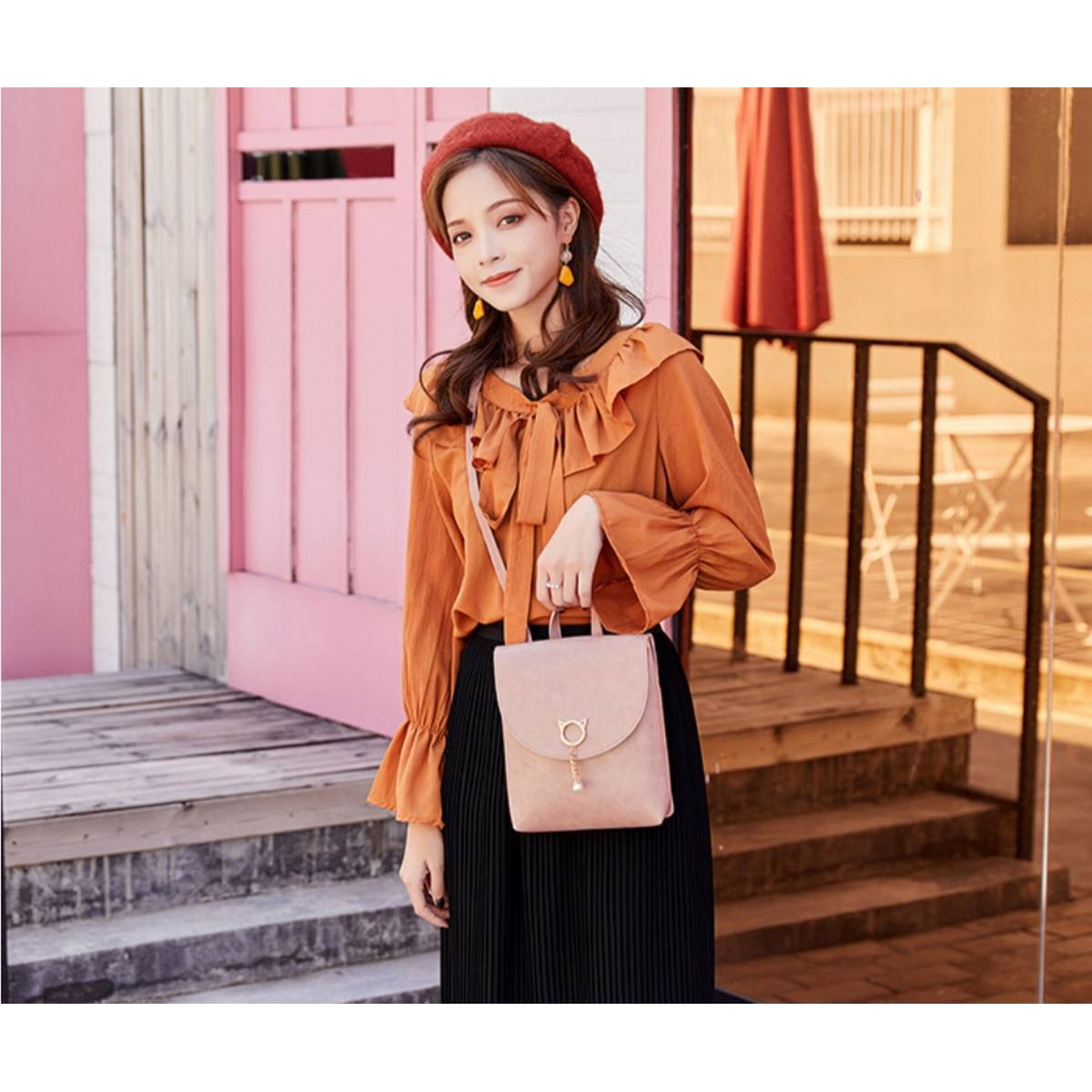 3 Styles Use Pu Leather Mini Backpack for Stylish Girl's(Side Shoulder Carry+Hand Carry+Backpack)