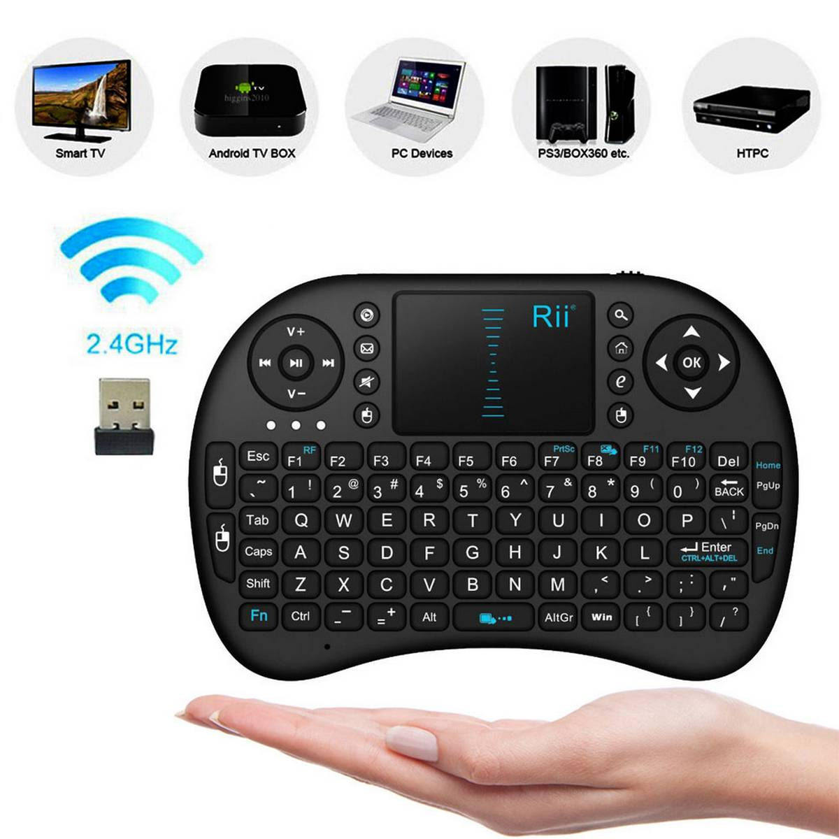 Mini Wireless Keyboard With Touchpad Mouse Rf500 - Black
