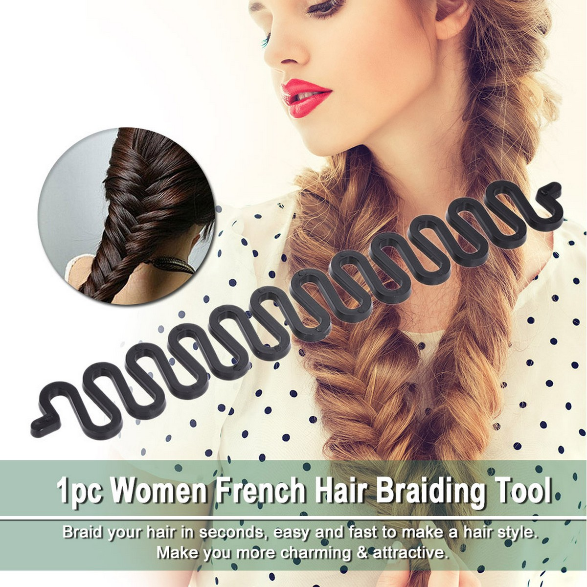Black French Hair Braiding Tool For Women - Bridal Flower Hair Comb Clip for woman Jewelry New Fashion Women Set Topsy Tail Hair Styler Hair Style Hair Twister Snare Loop Black Top Used With Extension Wig
