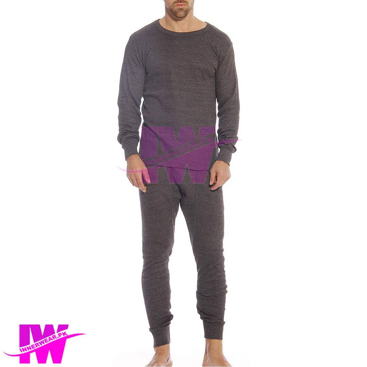Men Premium Full Body Suit Thermal Body Warmer Skin Tight Stretchable Innerwear Winter Warm Long Johns Trouser Pajama Full Sleeve Shirt Dark Grey