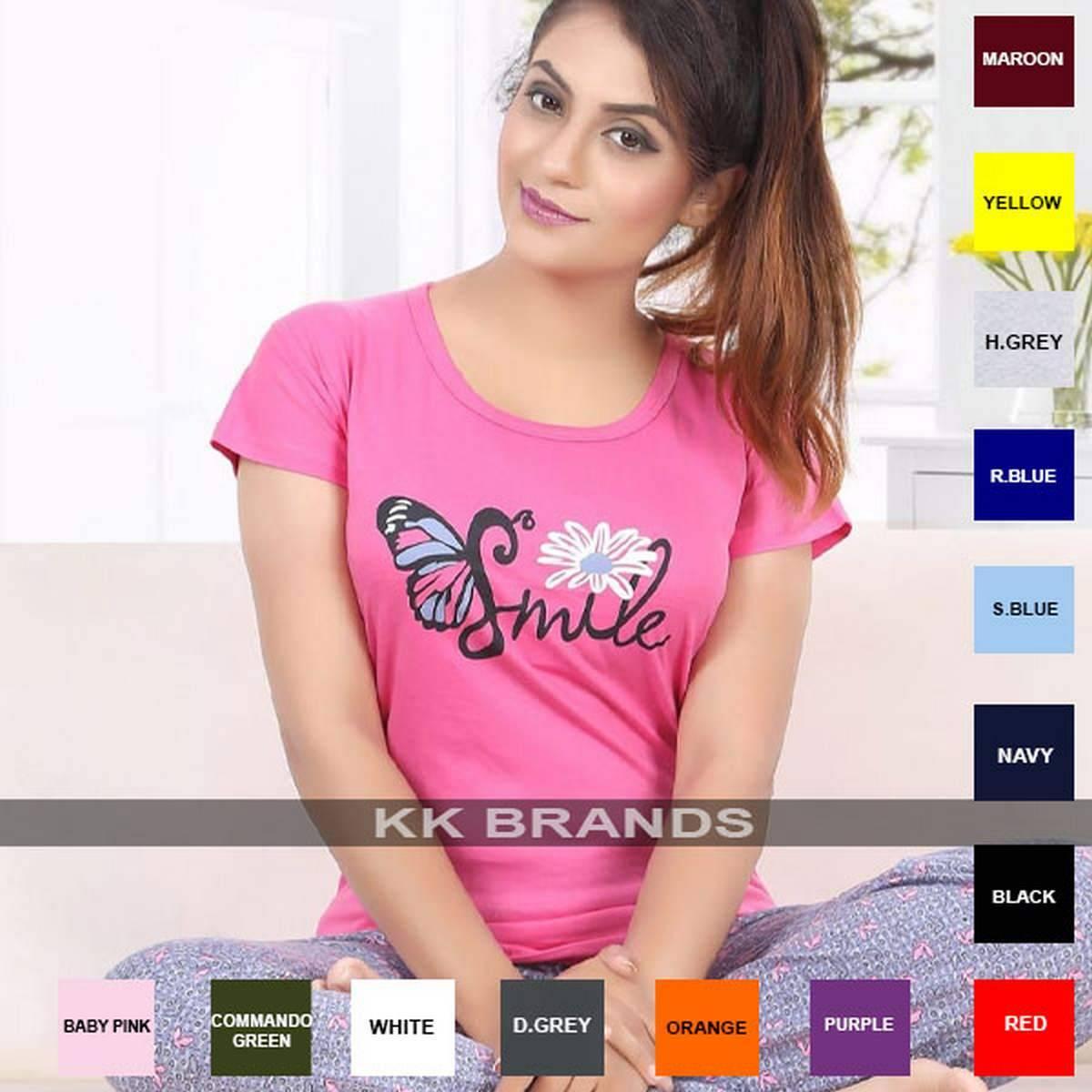 KK BRANDS Women Tshirt Girls Cute Smile Love Shape Top