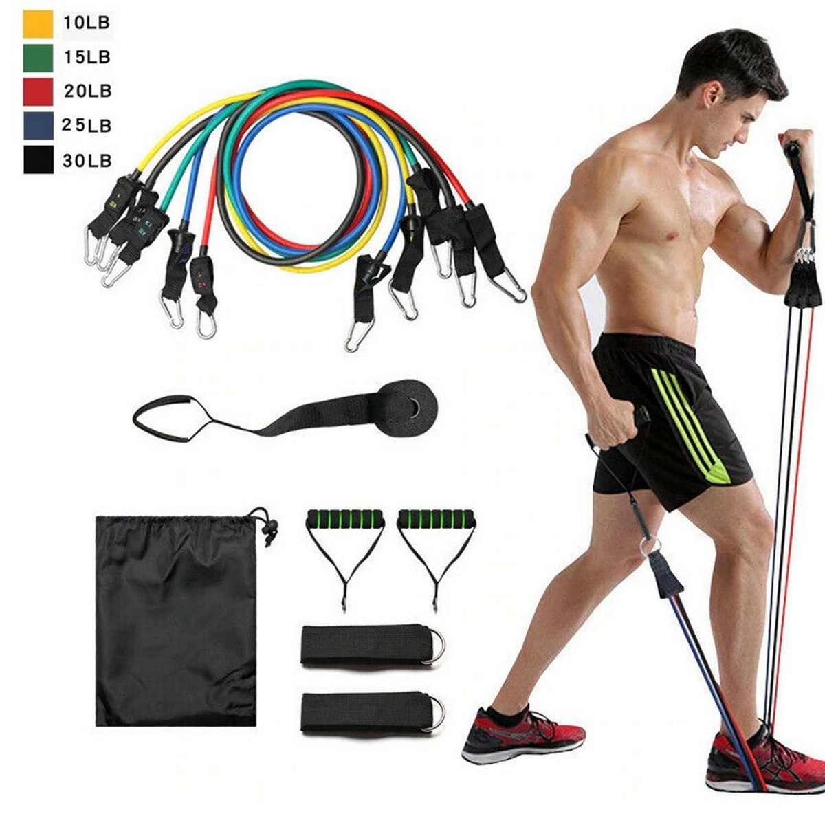 11 PCS Resistance Bands Set Fitness Exercise Set Men Women, Fitness Stretch Workout Bands 11PC with Fitness Tubes, Foam Handles, Ankle Straps, Door Anchor for Home Gym Fitness, Physical Therapy
