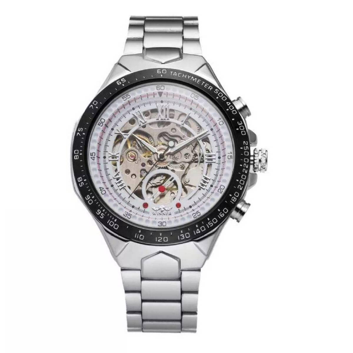 Winner Automatic Skeleton  Mechanical Watches Men's Golden Luxury Stainless Steel Wrist Watch for Men