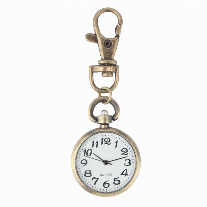Retro Bronze Quartz Movement Keychain Keyring Watch Pocket Round Dial