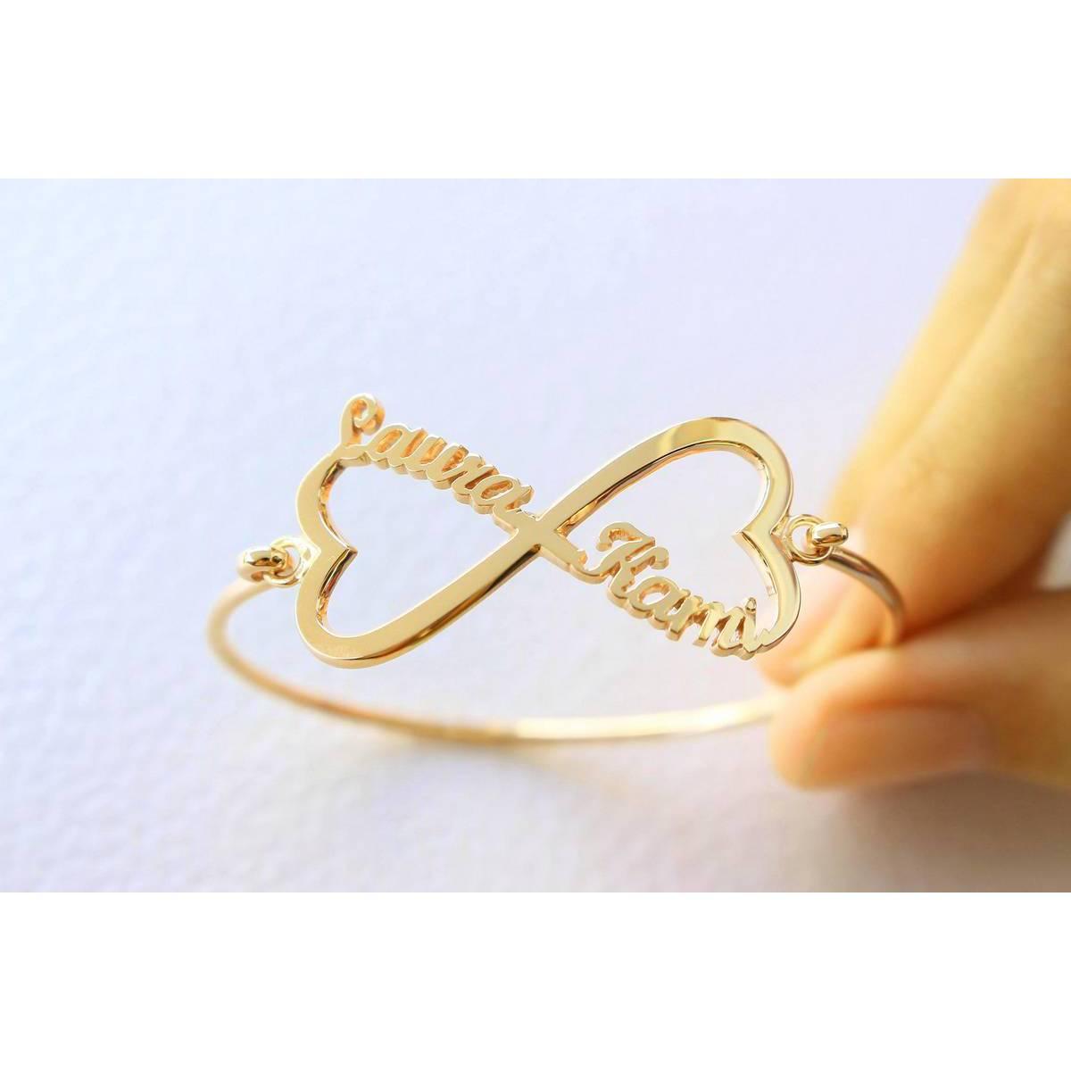 Infinity Design Custom Made Gold Plated Double Name Bangle Bracelet