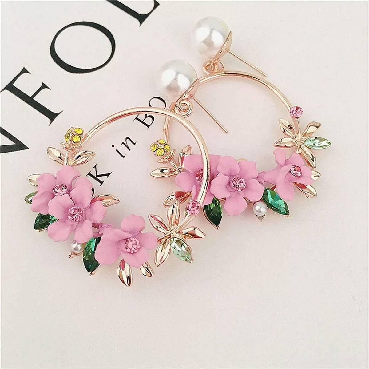 Fashion Trendy Earrings Flowers Drop Earrings For Women Vintage Pink Temperament Contracted Woman Round Earrings Fine Jewelry