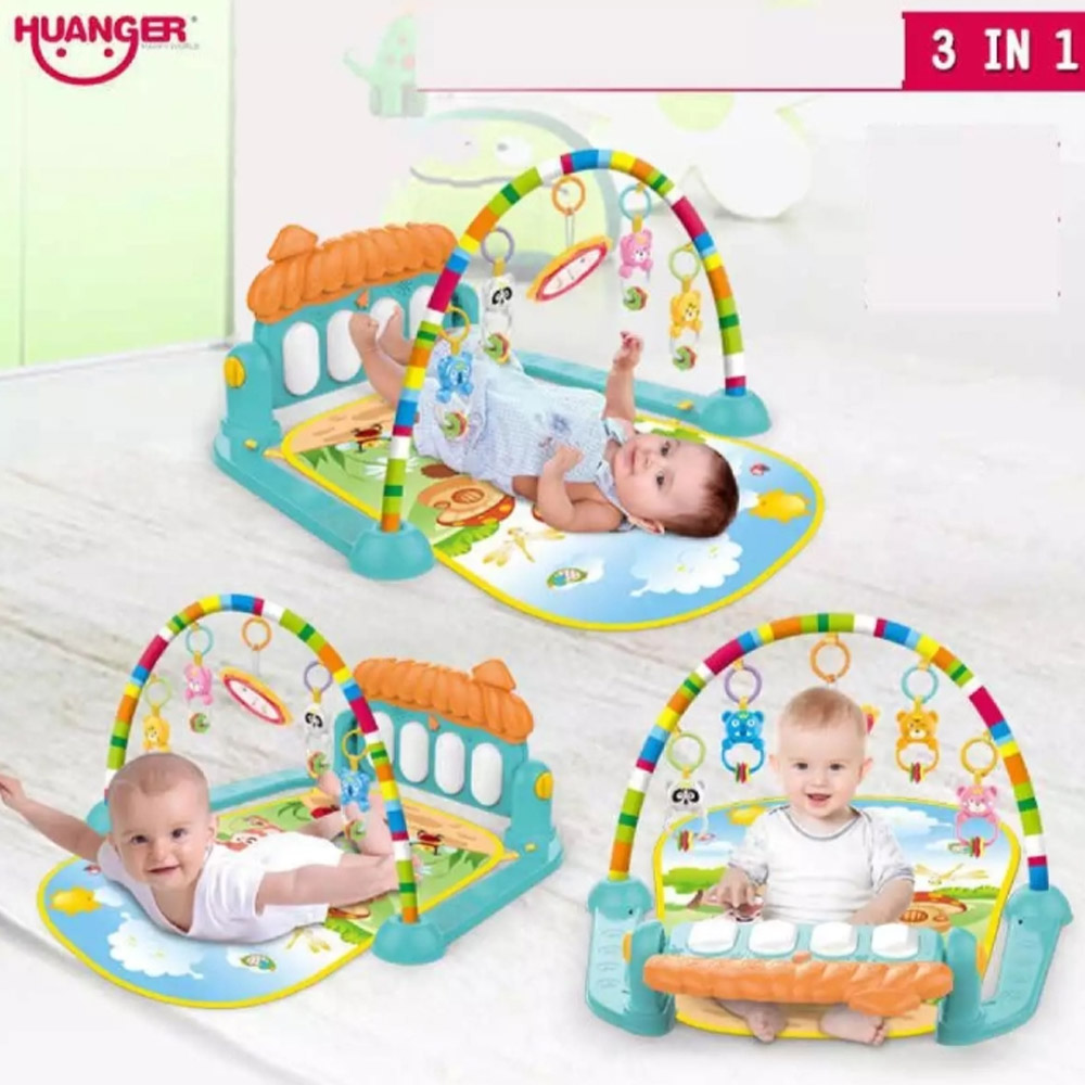 Huanger - 3 In 1 Newborn Baby Toddler Activity Play Gym Piano Fitness Rack Mat