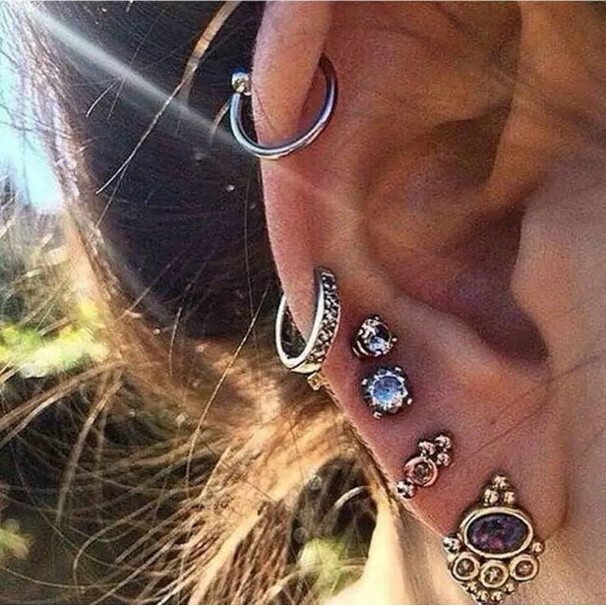 New Trend Punk Wind Turtle Palm Moon Ancient Silver Amethyst Earrings Ear Clip Set Retro Style Women's Zircon Short Ear Jewelry
