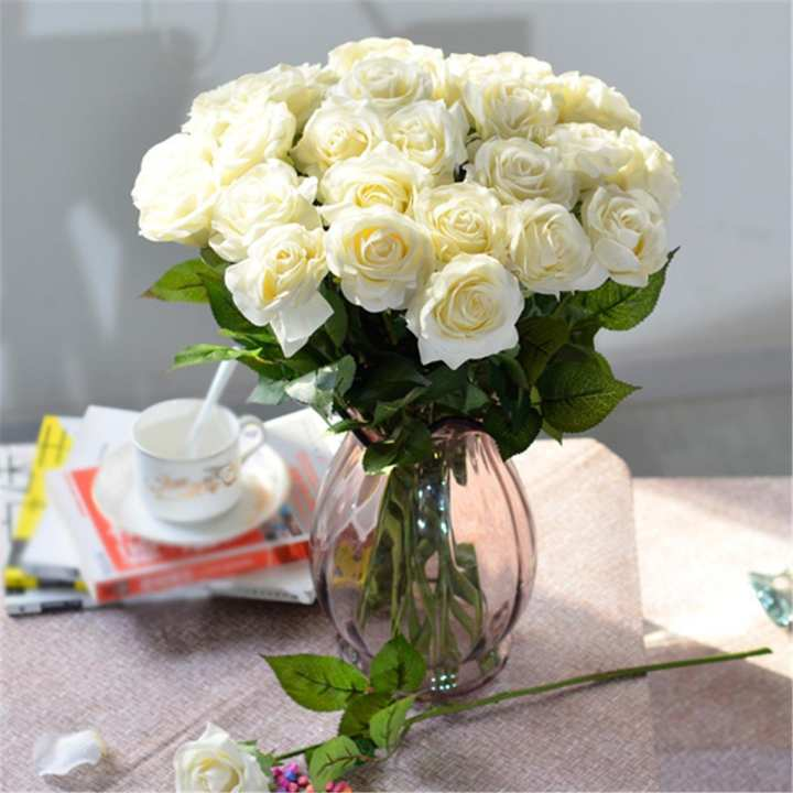 1x Handmade Artifical Rose Flowers Bridal Wedding Home Bouquet Party Decor Gifts # Cream Ivory