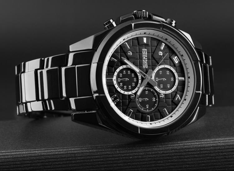 SKMEI Men Fashion Sports Watches Business Stainless Steel Watch Quartz Creative Waterproof Wristwatches Male Clock 1378