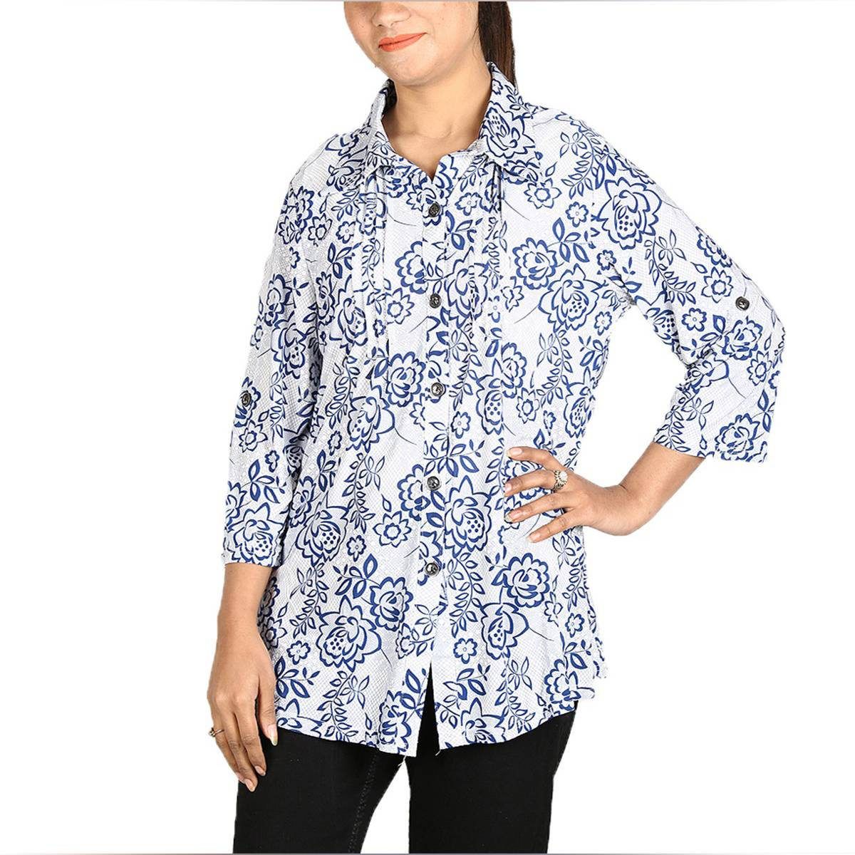 Flourish Half Sleeves Shirt Style Lycra Stretchable Lounge Wear Top For Girls