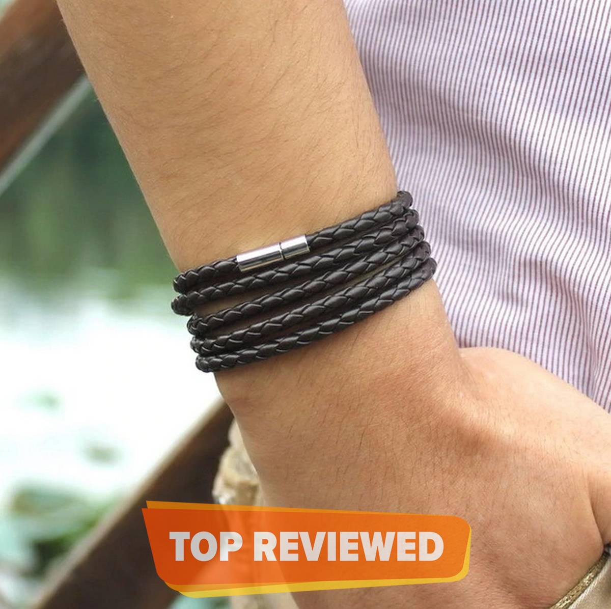 Jet Black PU Leather Rolo Chain Bracelet - TM-MB-15