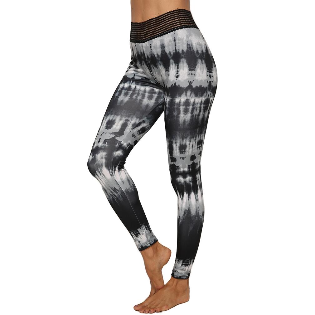 Women's Tie Dye Sports Fitness Stretch Hip Slim Yoga Leggings Black XL Size