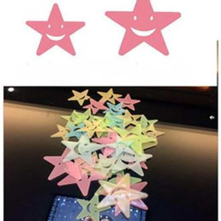 Pack Of 36 - Bigger and Better Fluorescent Night Glowing Stars Wall Sticker