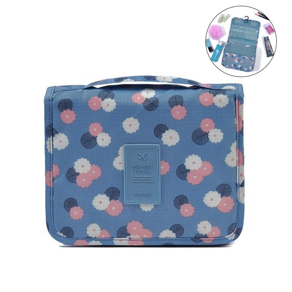 915d45ed9f11 Toiletry Bag Multifunction Cosmetic Bag Portable Makeup Pouch Waterproof  Travel Hanging Organizer Bag For Women Girls, Blue Flowers