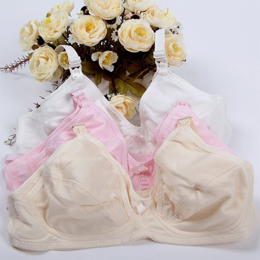 Nursing Maternity Intimates Breast Feeding Bra Front Opening Wireless Cotton Material Mother Wear - 1 Pc Random Color