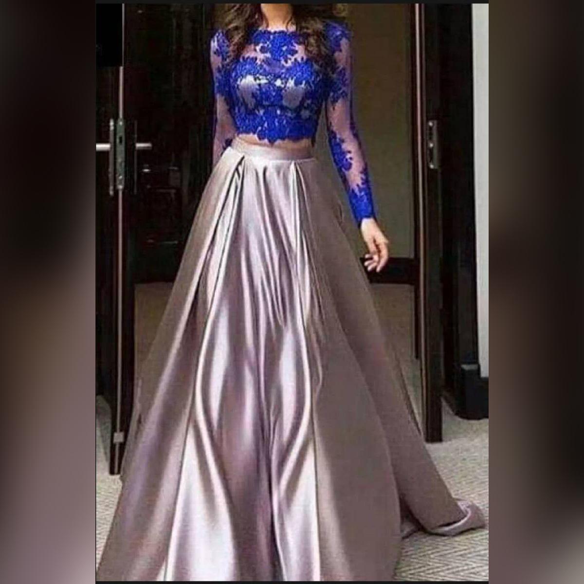 Blue&Silver Long Evening Maxi Dress For Women`s