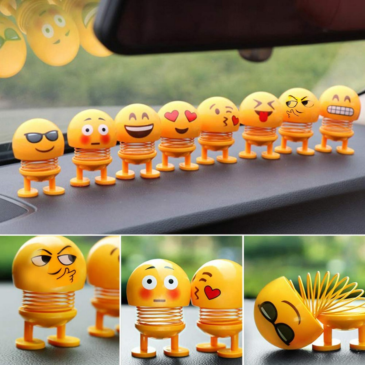 Pack of 5 Large Spring Shaking Head Dolls, Cute Emoji Dolls Funny Expression Bounce Toy Swing Jewelry Smiley Face for Car Dashboard