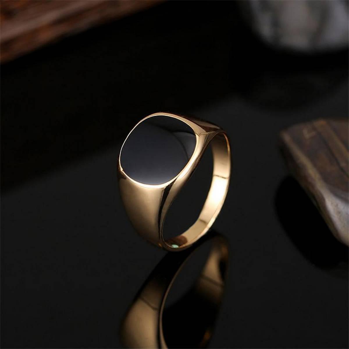 D Marts Gold Plated Black Enamel Ring For Men DG564