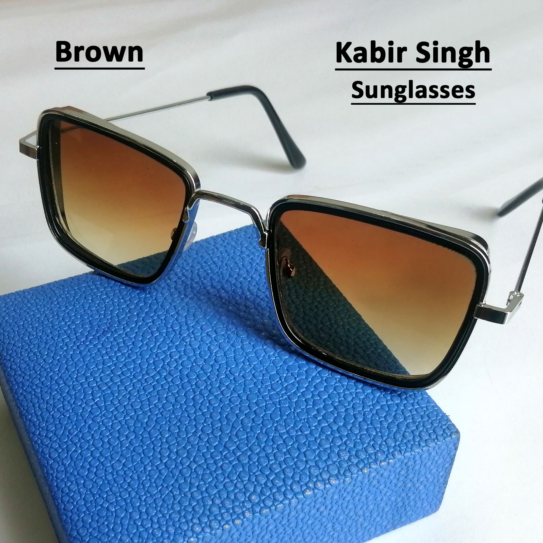 Fashion Sun Glasses for Men in Kabir Singh Style New Arrival Square Shape Metal Frame Sunglasses For Men Party Glasses Eyewear For Adults