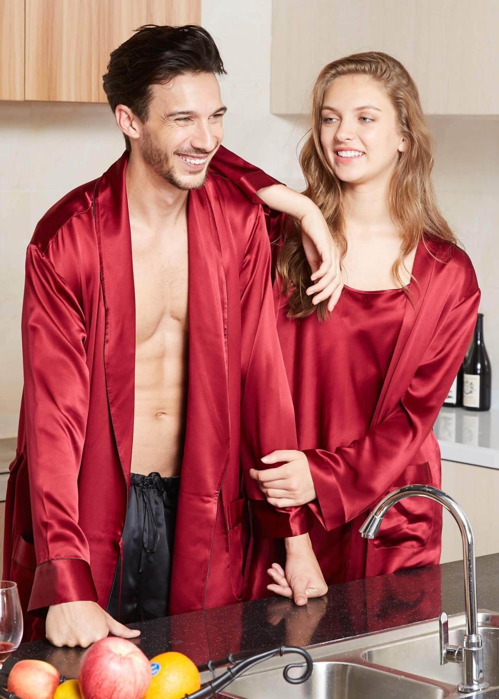 Fashion Up Satin Silk Nighty Gown For Couple, camisole, girls nighties, sleepwear, silk nighties, 3 piece nighty, silk robe, night gowns, nighty dress for girl, nightwear, bridal nighty (Maroon).