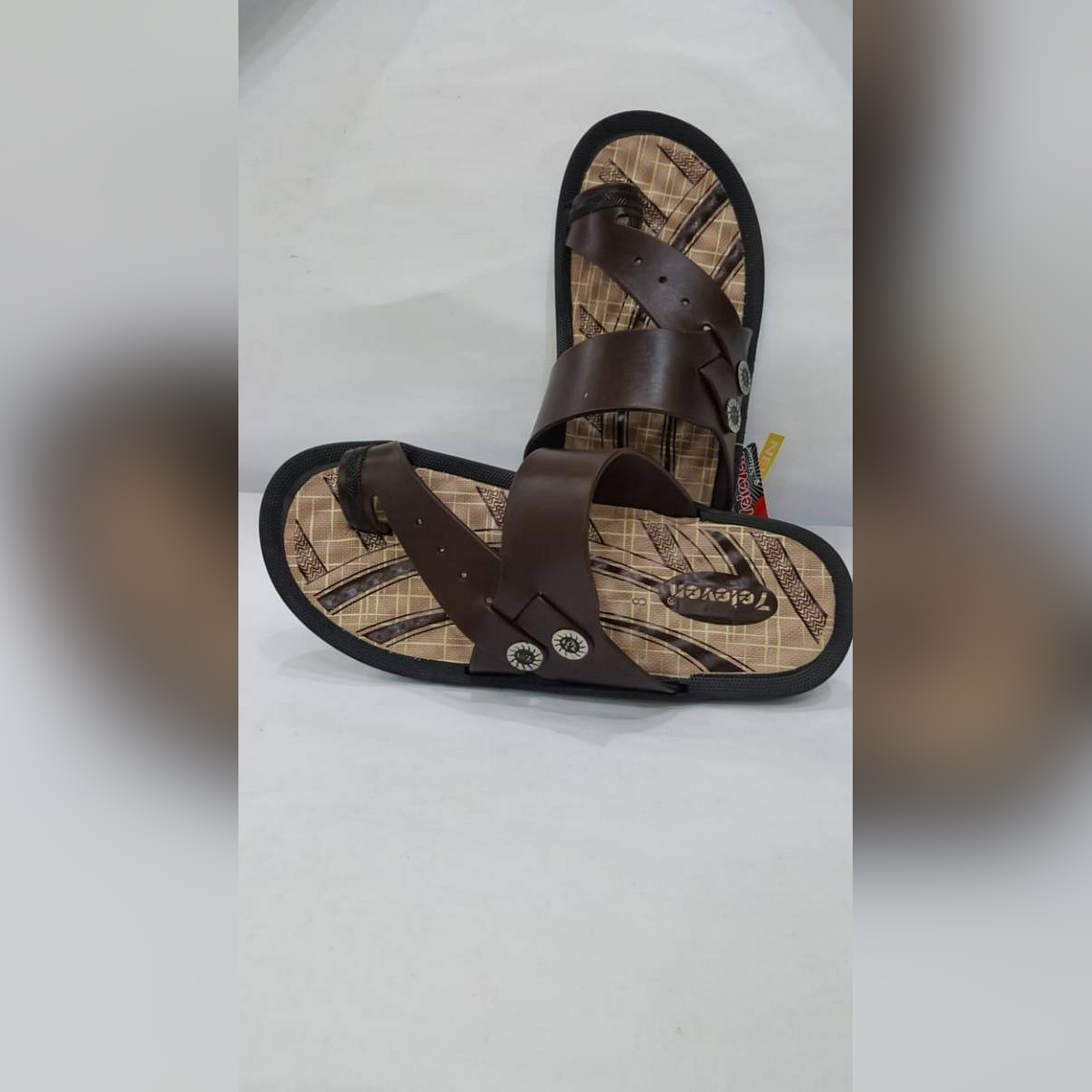 77 ELEVEN CASUAL CHAPPAL FLIPFLOP FOR MEN BROWN IN COLOUR
