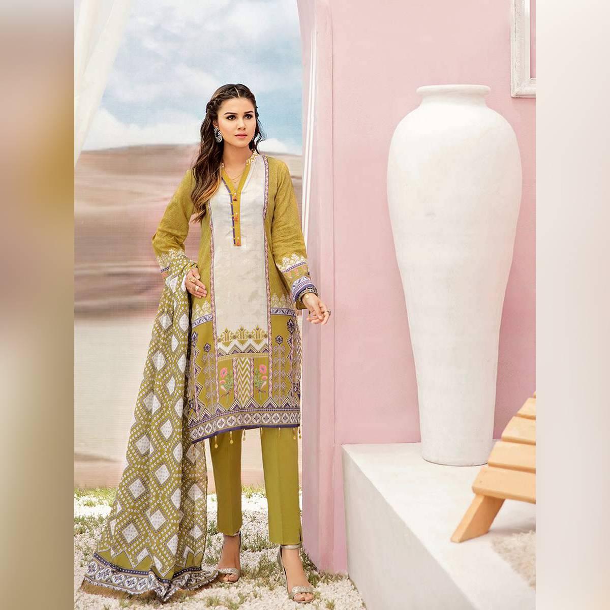 Khas Stores Women Summer Collection V2 Unstitched 3-pc Turquoise Clr Lawn Suit A-KC-07