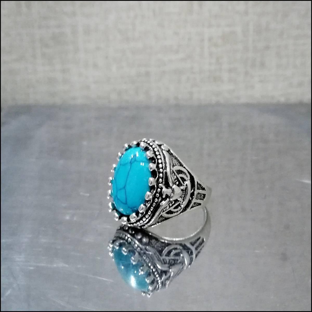 High Quality  Fashion Elegant Style Red Feroza Stone Stainless Steel Men Ring