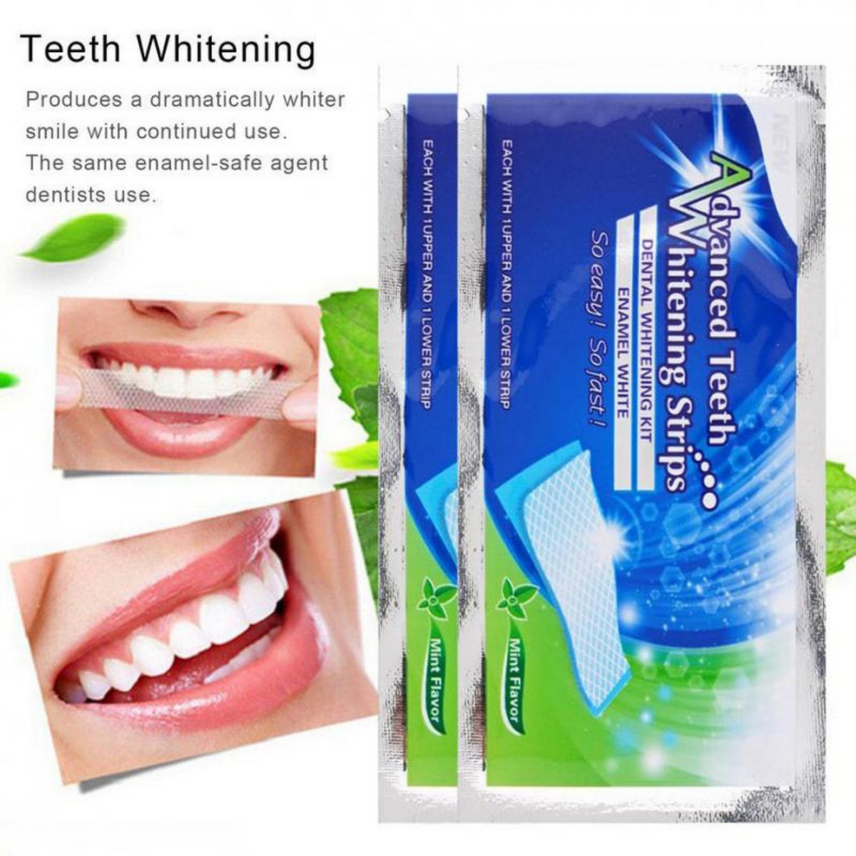 2Pcs/Bag Advanced Teeth Whitening Strips Teeth Oral Hygiene Care Dental Bleaching Teeth Strips Whitening Dental Bleaching Tools
