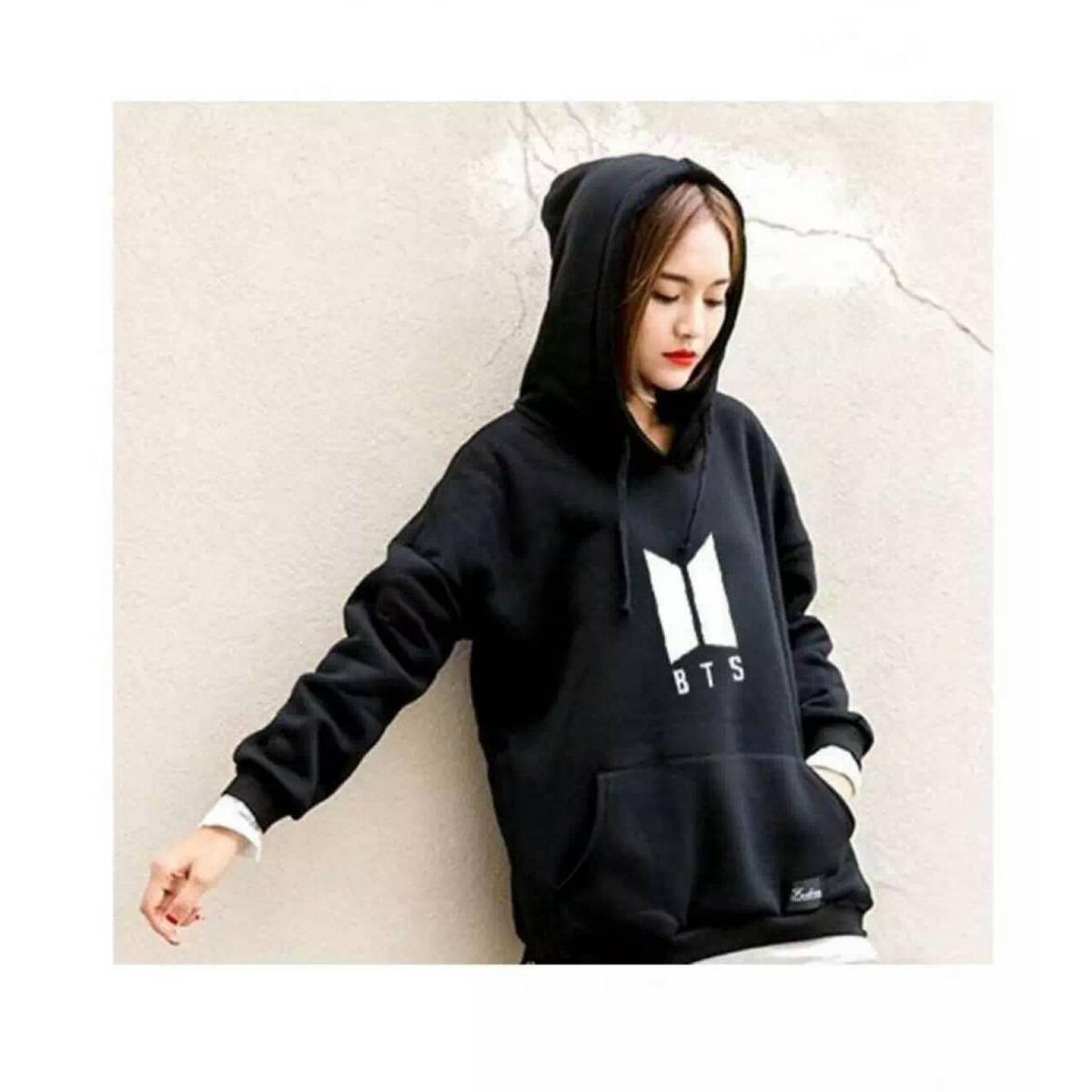 Black BTS Printed Kangroo Hoodie For Girls & Women
