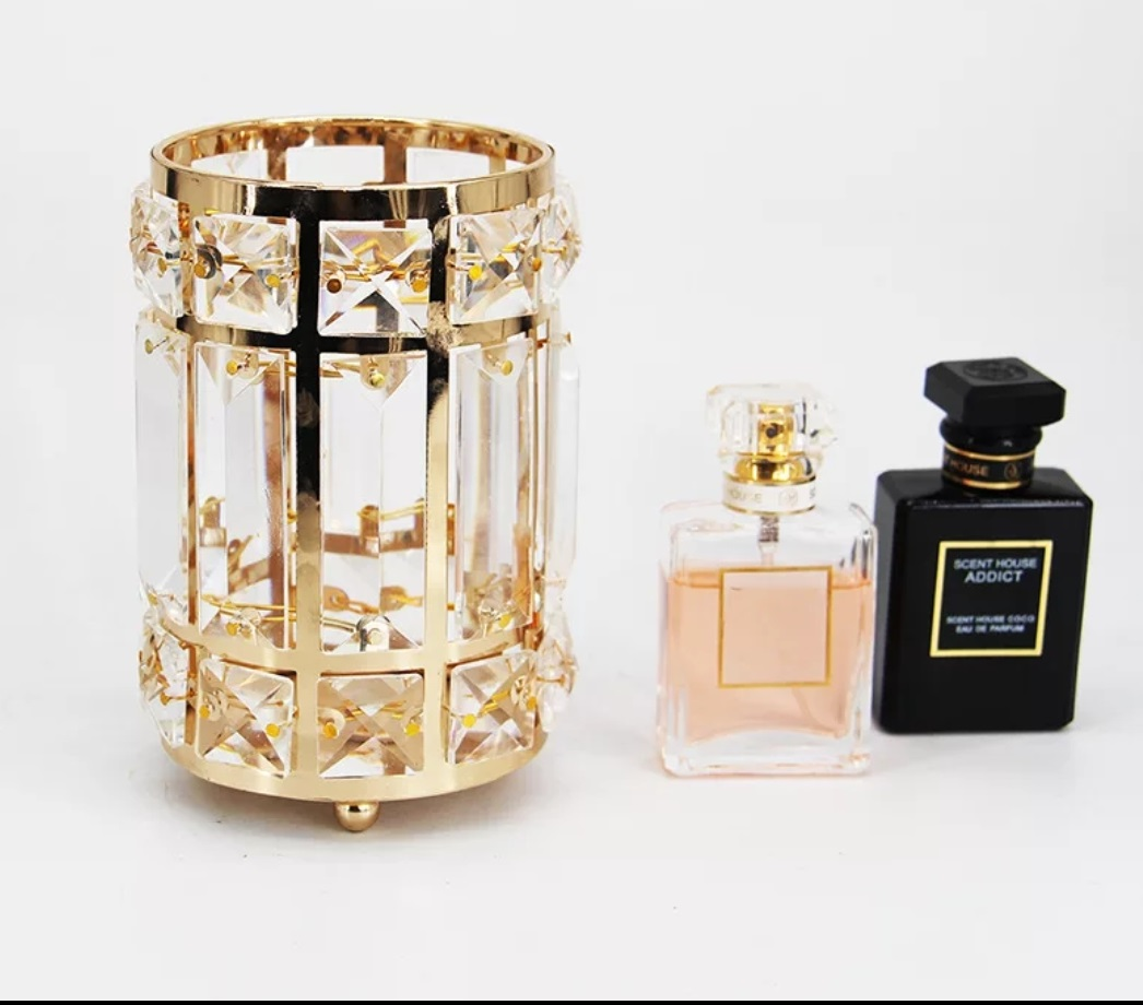 Candle Jar Restaurant Christmas Luxury Empty Wedding Metal Crystal Gold Decorating Container Holder Candle Jar For Home Decoration