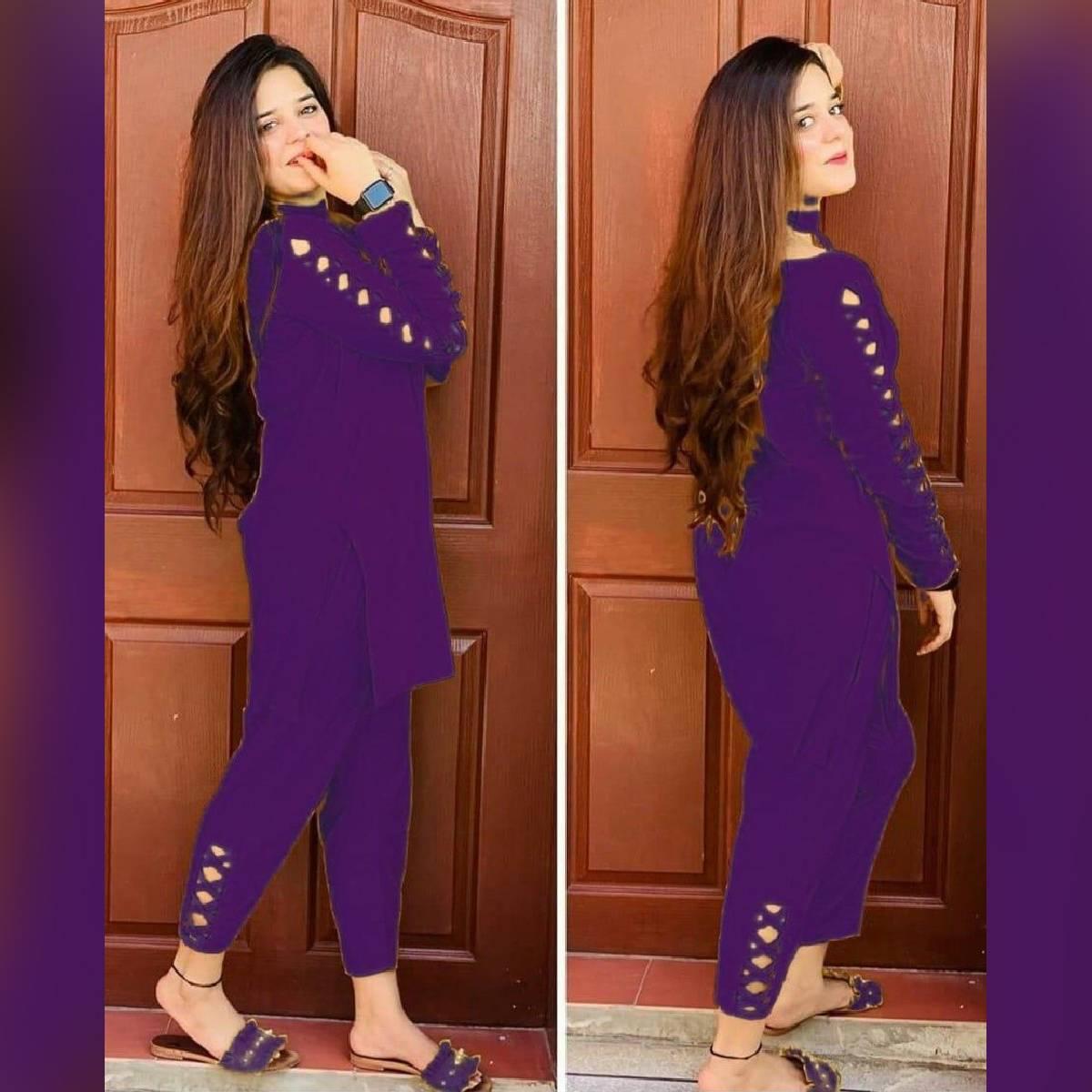 Multicolour 2pc Stitched Suit for Women