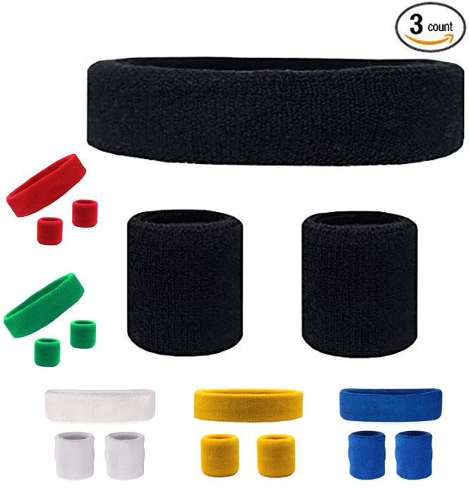 Pack of 3 High Quality Sweat Band for Arms and Head Cotton Sports Yoga Gym Basketball Hair Bands Sweatband Breathable Sweat Headbands
