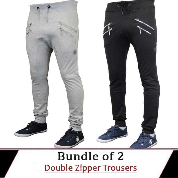 pack of 2 terry double zipper trouser for him