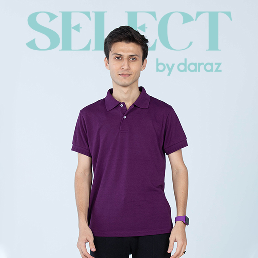 Select By  Basic Polo Shirt For Men - Plum