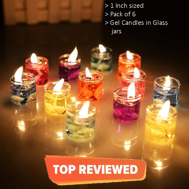 Pack Of 6 Colorful Gel Candles Smokeless Mini Tealight candel Ocean Seashell Glass holder 1 inch 2 inch Free home delivery