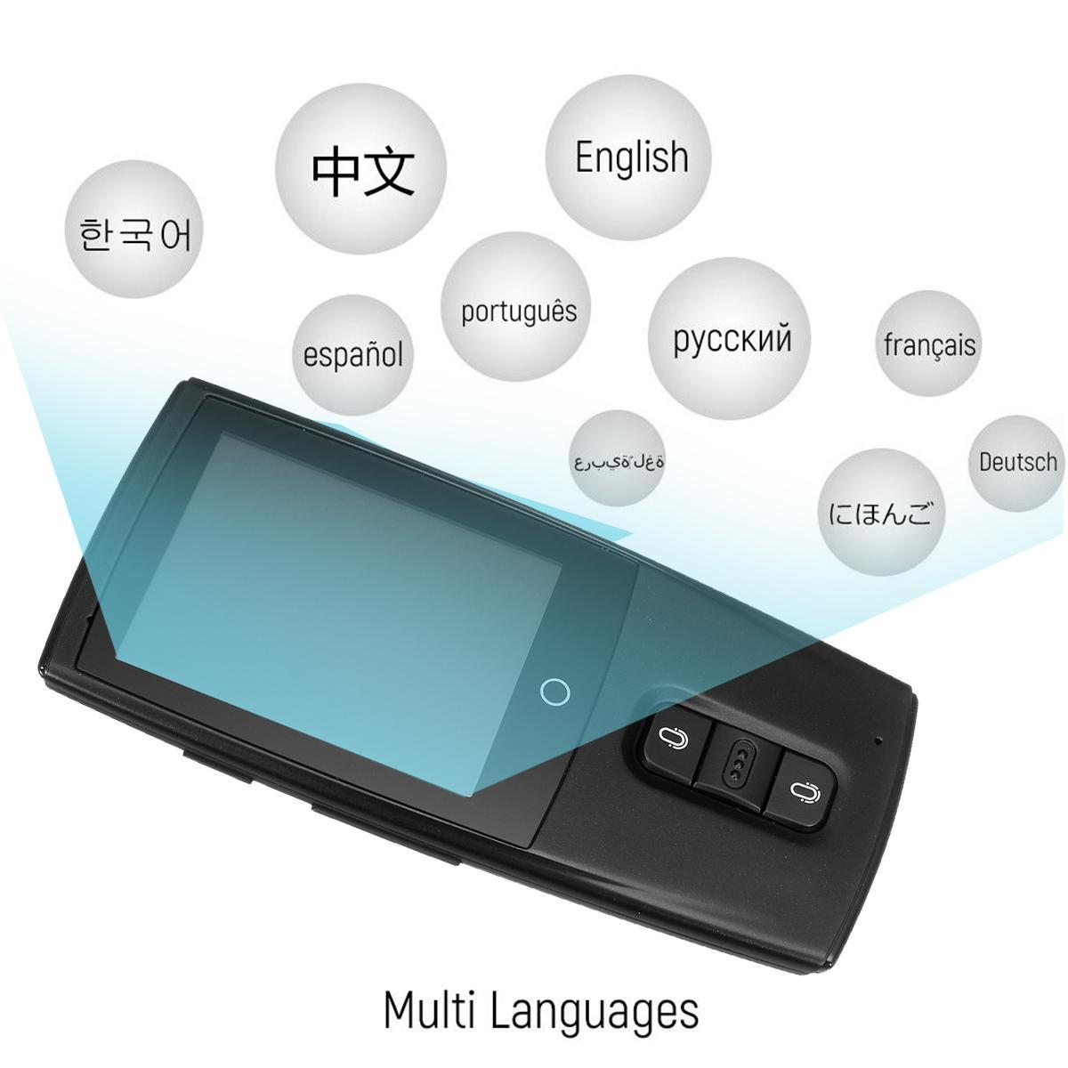 Voice Language Translator Device 43 languages Smart Two Way Translator WiFi  2 4 Touch Screen - Grey/black