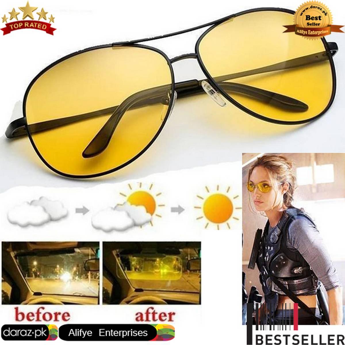 HD Night Vision Glasses Aviator Style Shape Night Driving Glasses Anti Glare Polarized Mens Women Glasses - Yellow