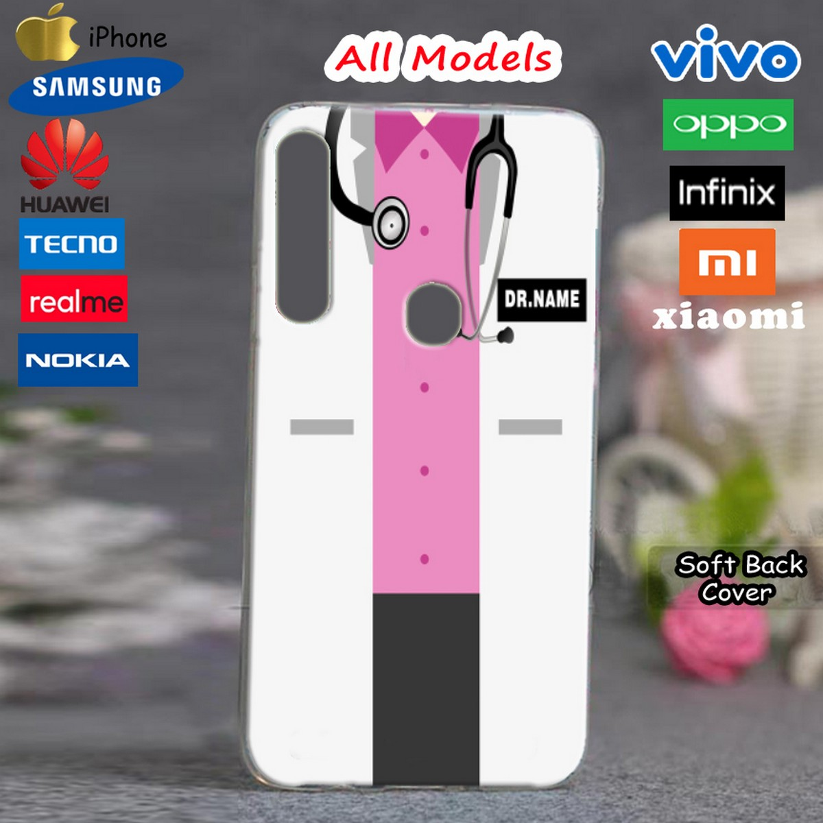 Universal TPU Silicon Mobile Back Cover - Pink