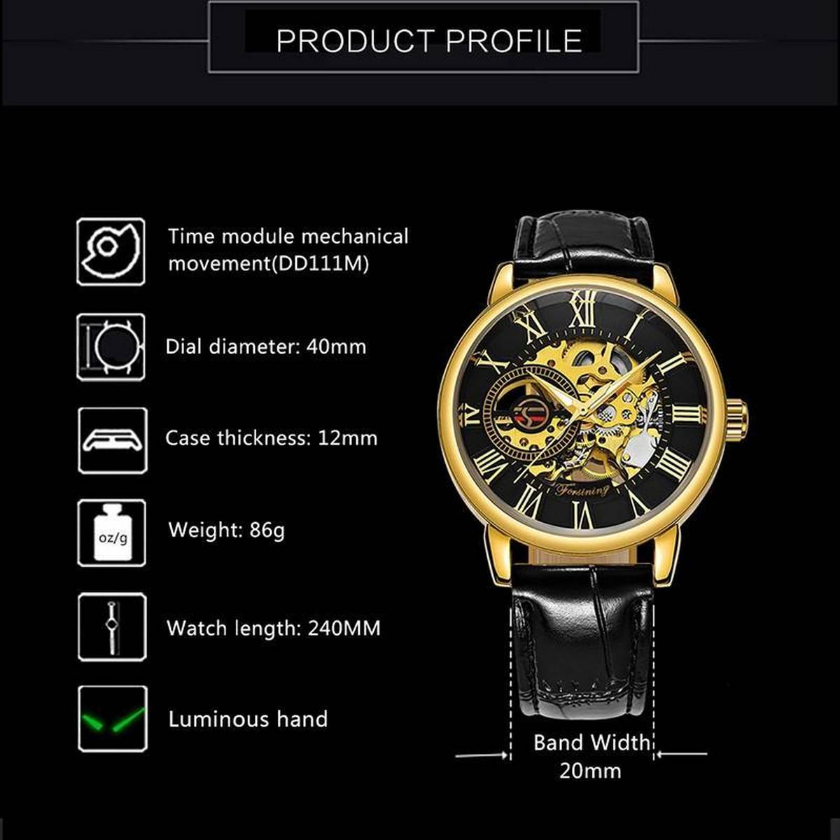 Genuine Hollow Fashion Mechanical Automatic Movement Casual Watch For Men