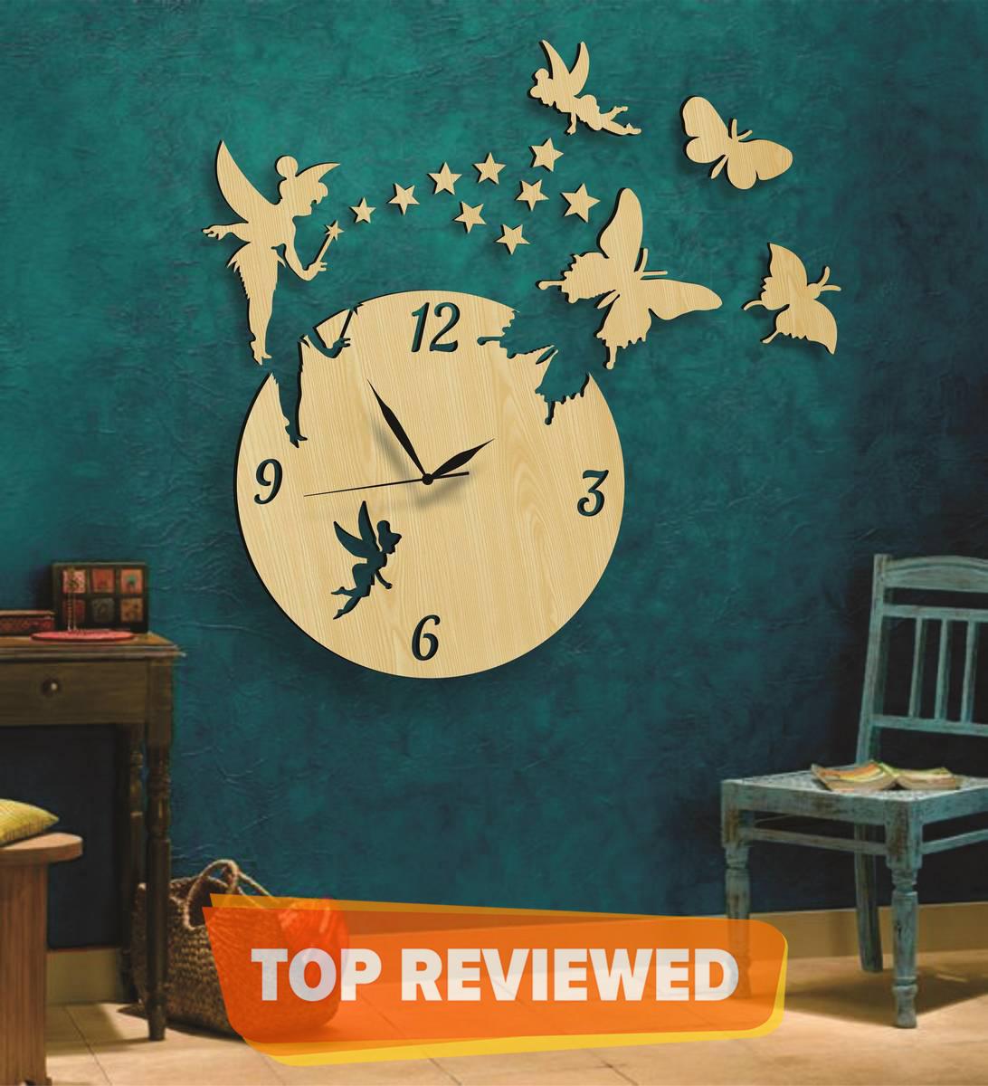 Wooden Wall Clock Fairy Home Decor Watches, Girls Favorite Fairy Wooden Wall Clock, 3D Laser Cut Wall Clock Fairy With Stars Butterflies