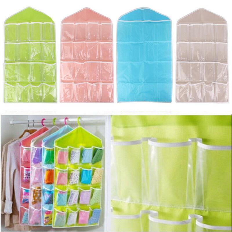 16 Pocket Kid Toy Storage Over Door Hanging Shoe Rack Hanger Bathroom Organizer Pouch Bags
